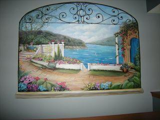 Ocean terrace mural in Rockford by muralist, Debbie Cerone