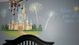 Castle mural with quote, painted by Chicago children's muralist