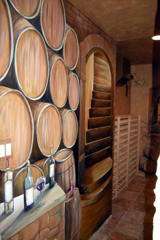 Wine Cellar Mural painted in St. Charles, by muralist Debbie Cerone