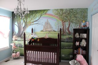 Nursery Rhyme nursery mural, painted by Chicago area nursery muralist.