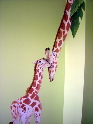 jungle nursery mural, mom and baby giraffe