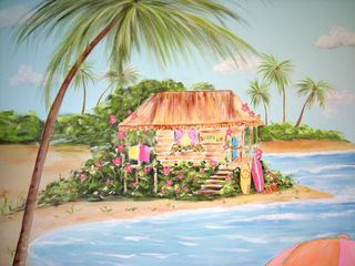Surfer girl mural-surf shack
