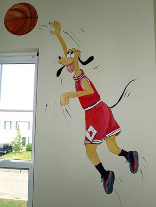 sports mural,pluto,baketball,bulls