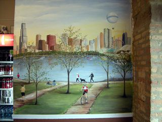 Chicago skyline mural painted in Sal's Deli by Debbie Cerone
