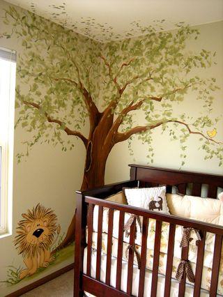 Jungle animal nursery mural painted by Chicago muralist