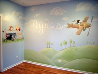 Chicago nursery muralist paints nursery mural with non-toxic paints.