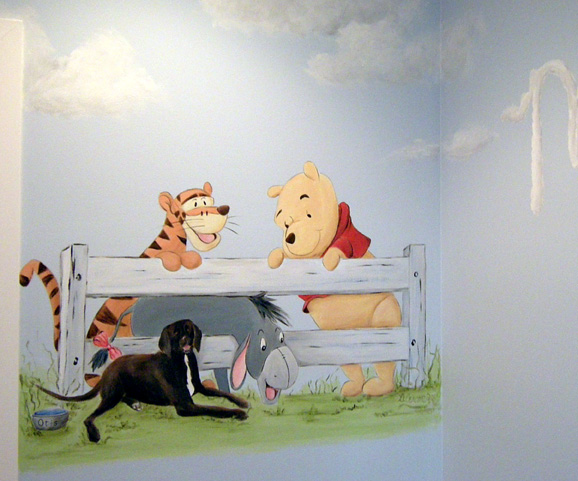 Snoopy and winnie the pooh nursery mural art ideas by for Classic pooh mural