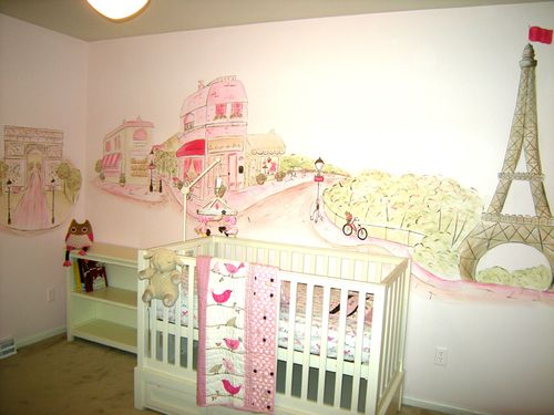 Paris themed nursery mural in Madison, Wisconsin