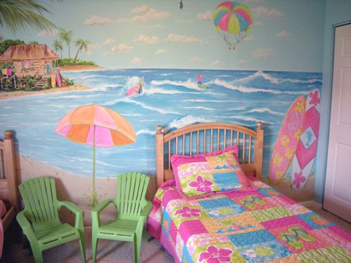 Surfer girl mural