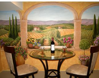 Tuscan terrace mural by Chicago muralist, Debbie Cerone