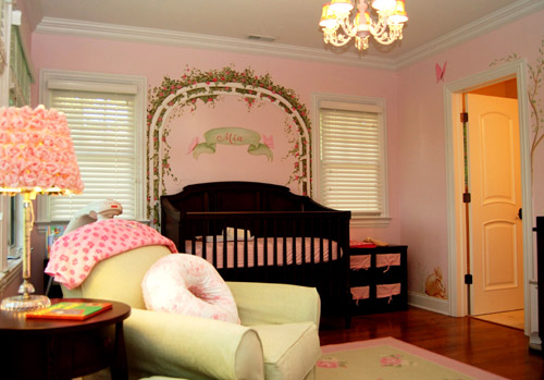 Pink baby girl's nursery