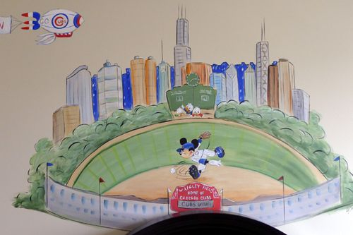 sports mural,mickey mouser,baseball