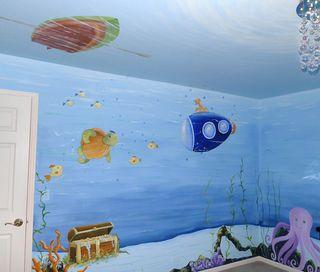 Underwater-fish-nursery-mural-submarine-turtle