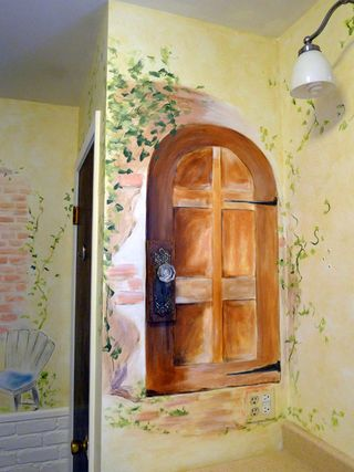 French-door-bathroom-mural-idea
