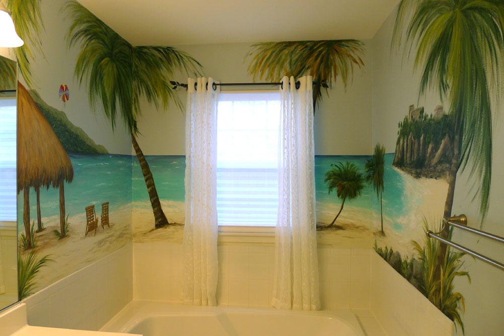 Tropical Mural Bathroom Beach Palm Trees