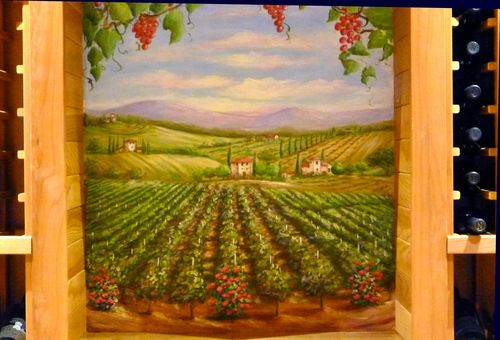Vineyard mural, grapes, Tuscan villas, Chianti