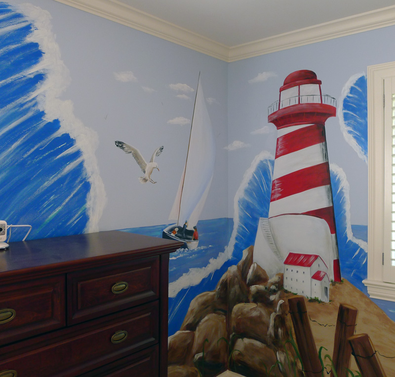 Sail-boat-mural-light-house