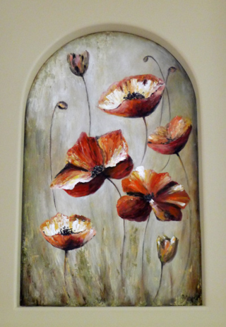 Poppies-mural-fireplace