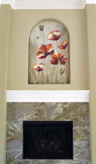 Poppy-flower-mural-fireplace