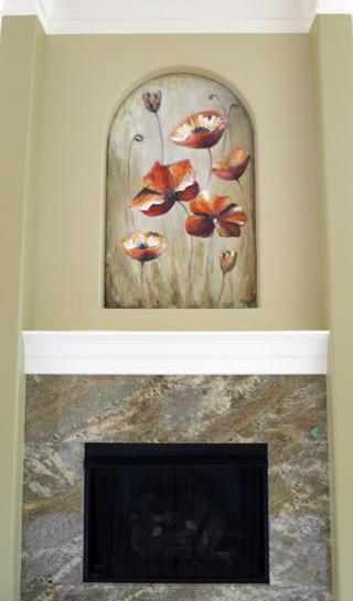 Poppy-flower-mural-fireplace
