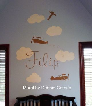 Jungle-safari-nursery-mural-planes-skywriting-monkey