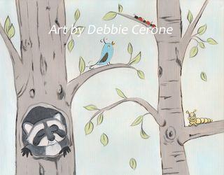 Woodland-left-raccoon-catepiller-bird-lady-bugs-birch-trees