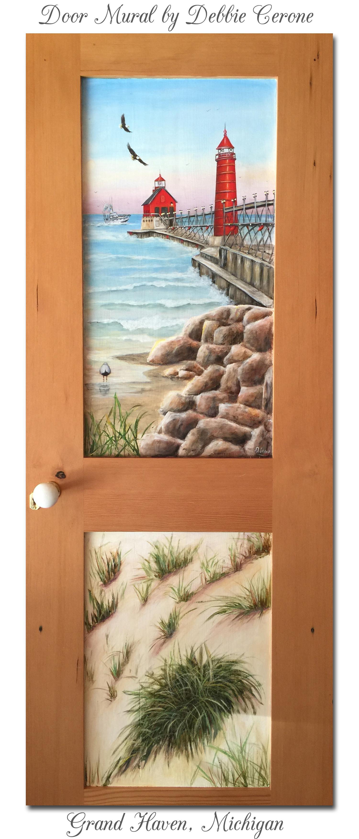 art ideas by debbie cerone restaurant commercial murals grand haven michigan lighthouse full door mural title
