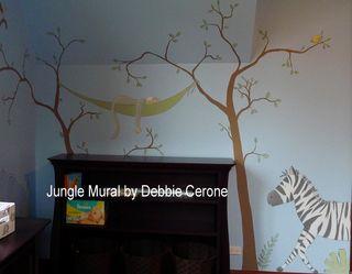 Jungle-safari-nursery-mural-zebra-monkey-sleeping