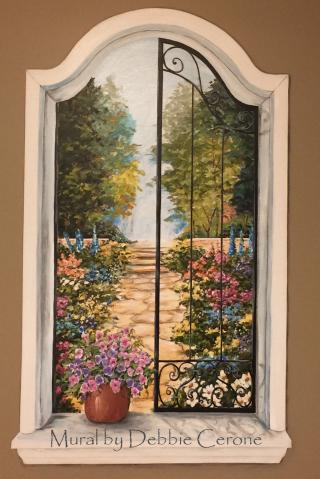 Window-Wrought-Iron-Shutters-Garden-Mural