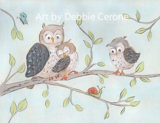 Woodland-center-owl-family-snail-gray-orange-aqua