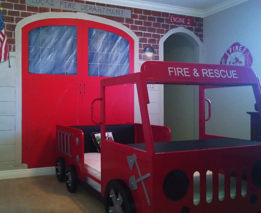 Fire Station Mural Fire Truck Bed Part 43