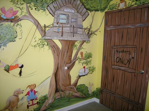 Commercial Murals Tree House Mural Painted In Playhouse